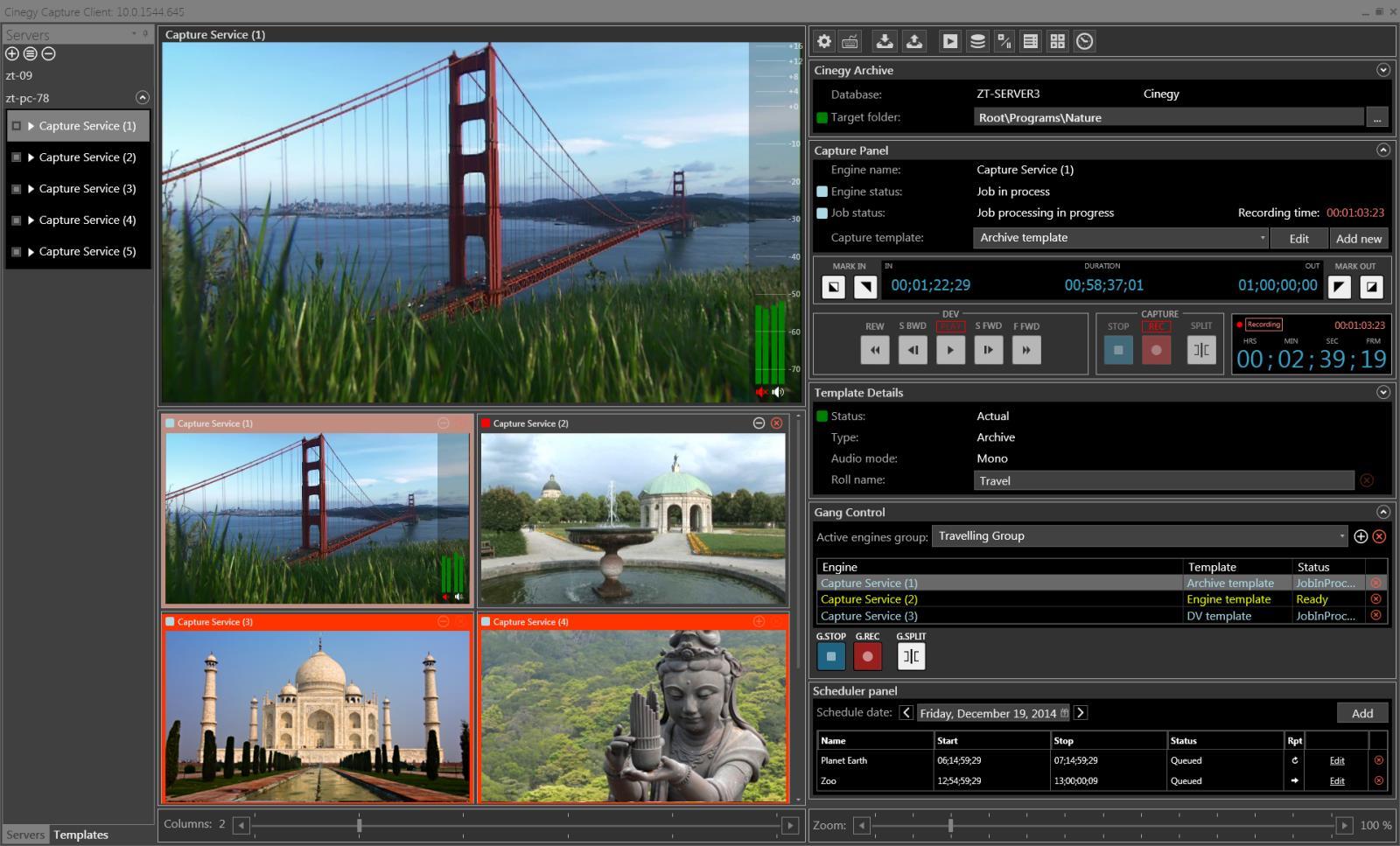 Интерфейс модуля записи Cinegy Capture Pro
