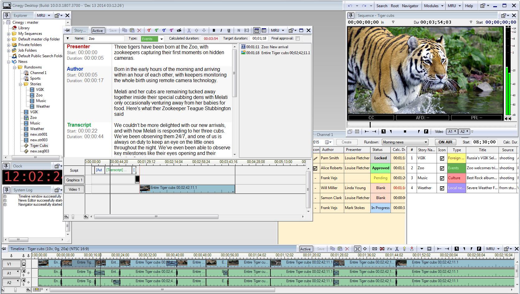 Интерфейс клиентского модуля Cinegy Desktop - подготовка новостного сюжета