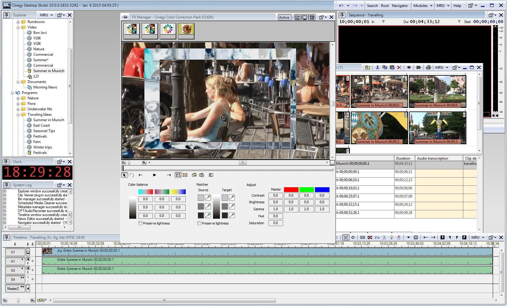 Интерфейс клиентского модуля Cinegy Desktop - добавление эффектов