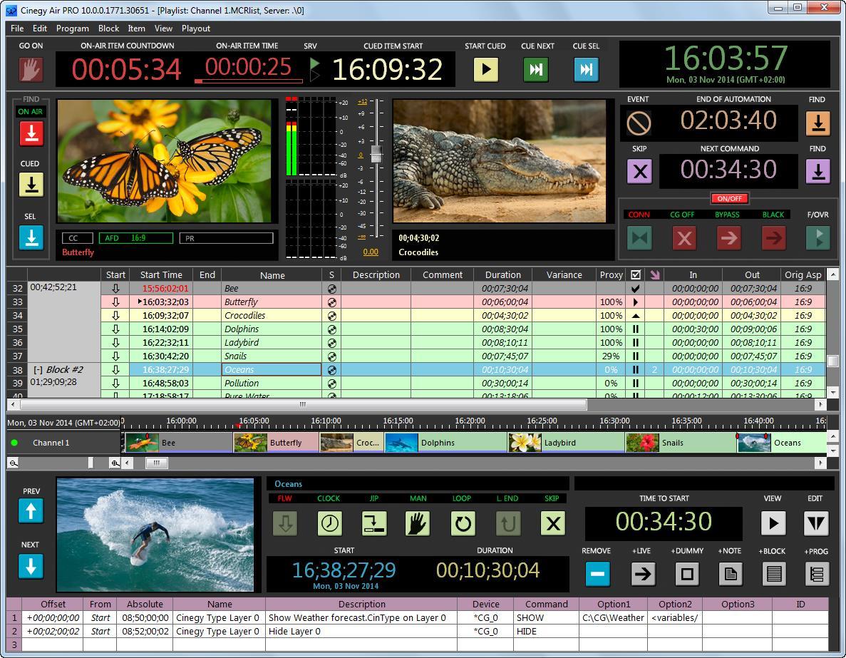 Интерфейс вещательного модуля Cinegy Air PRO